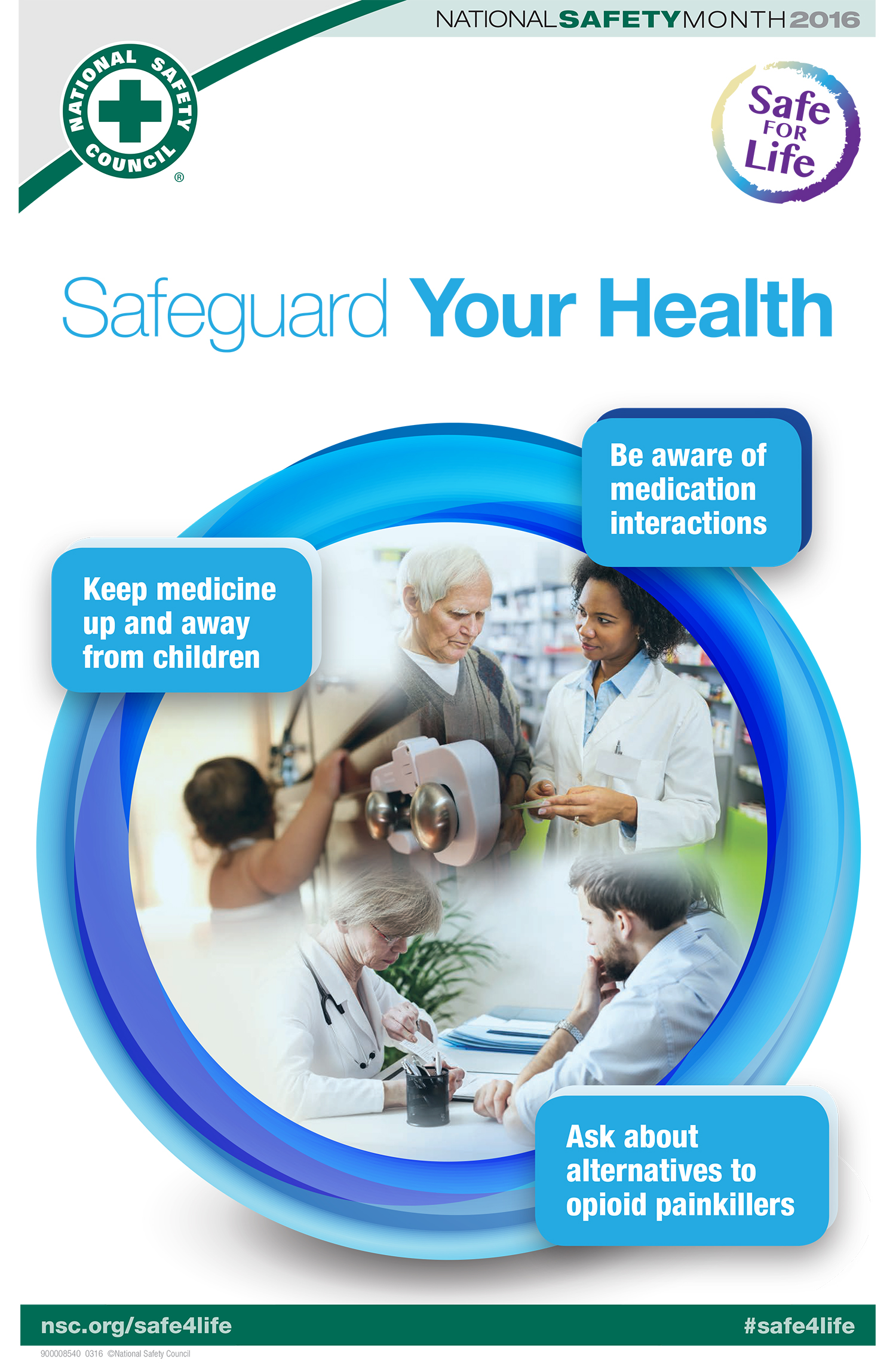 Safeguard Your Health  Be aware of medication interactions Keep medicine up and away from children Ask about alternatives to opioid painkillers
