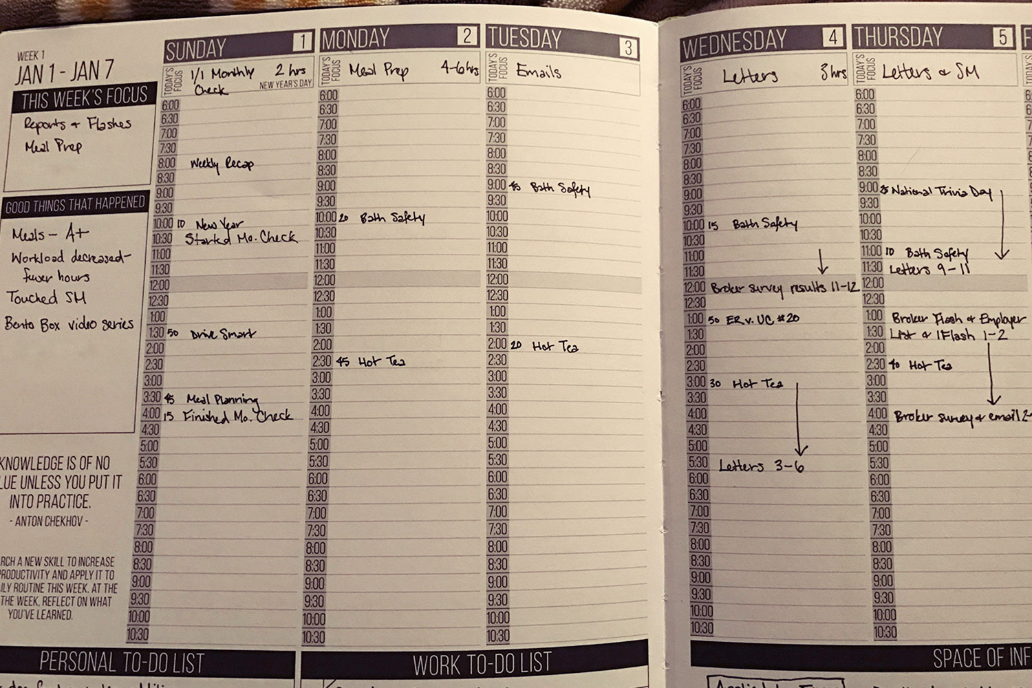Weekly View of Passion Planner