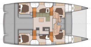 Sanya 57 Catamaran Charter Greece Layout