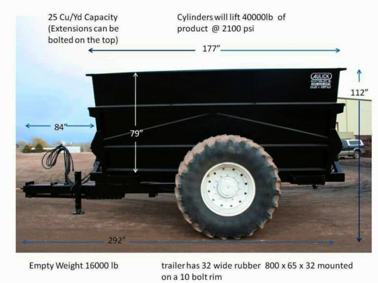 Aulick Industries Dump Cart Measurements