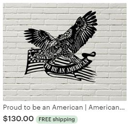 Aulick ETSY Proud to be an American | American Eagle | Bald Eagle | Eagle Steel | Nebraska Wildlife | Steel Wall Art | Metal Wall Art | Steel Eagle