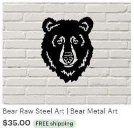 Aulick ETSY Bear Raw Steel Art | Bear Metal Art