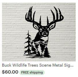 Aulick ETSY Buck Wildlife Metal Sign 12 Point Buck | Deer Decor | Wildlife Art | Cabin Decor | Lodge Decor | Deer Themed Wall Art | Big Buck