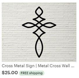Aulick ETSY Cross Metal Sign | Metal Cross Wall Decor | Metal Cross Art | Cross Art | Cross Wall Art | Christian Decor | Christian Wall Art