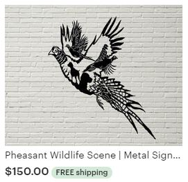 Aulick ETSY Pheasant Wildlife Scene | Metal Sign | Hunting Dogs | Deer Decor | Wildlife Art | Cabin Decor | Lodge Decor | Hunting Themed Wall Art