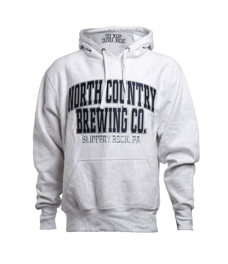 """Stay warm in our Grey with Black text with """"Farm-Eat-Drink-Repeat"""" on the hood. North County Brewing Premium Hoodie."""