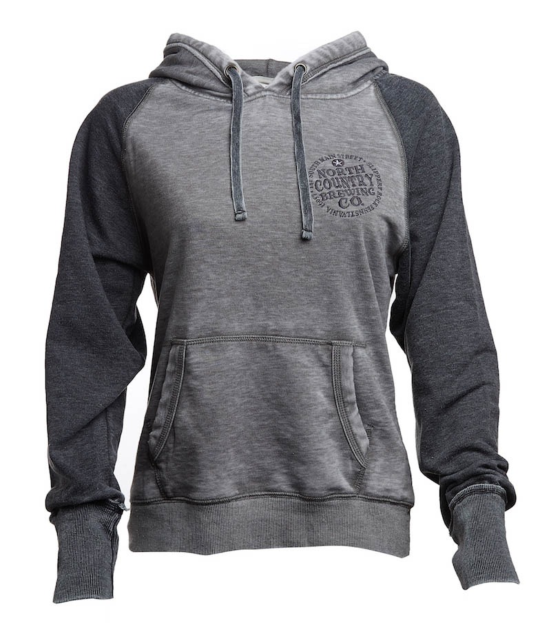 NCBC Premium Hoodie, Dark two-tone grey ladies cut. Stay warm in our Dark two-tone gray ladies cut with crate logo North County Brewing Premium Hoodie.