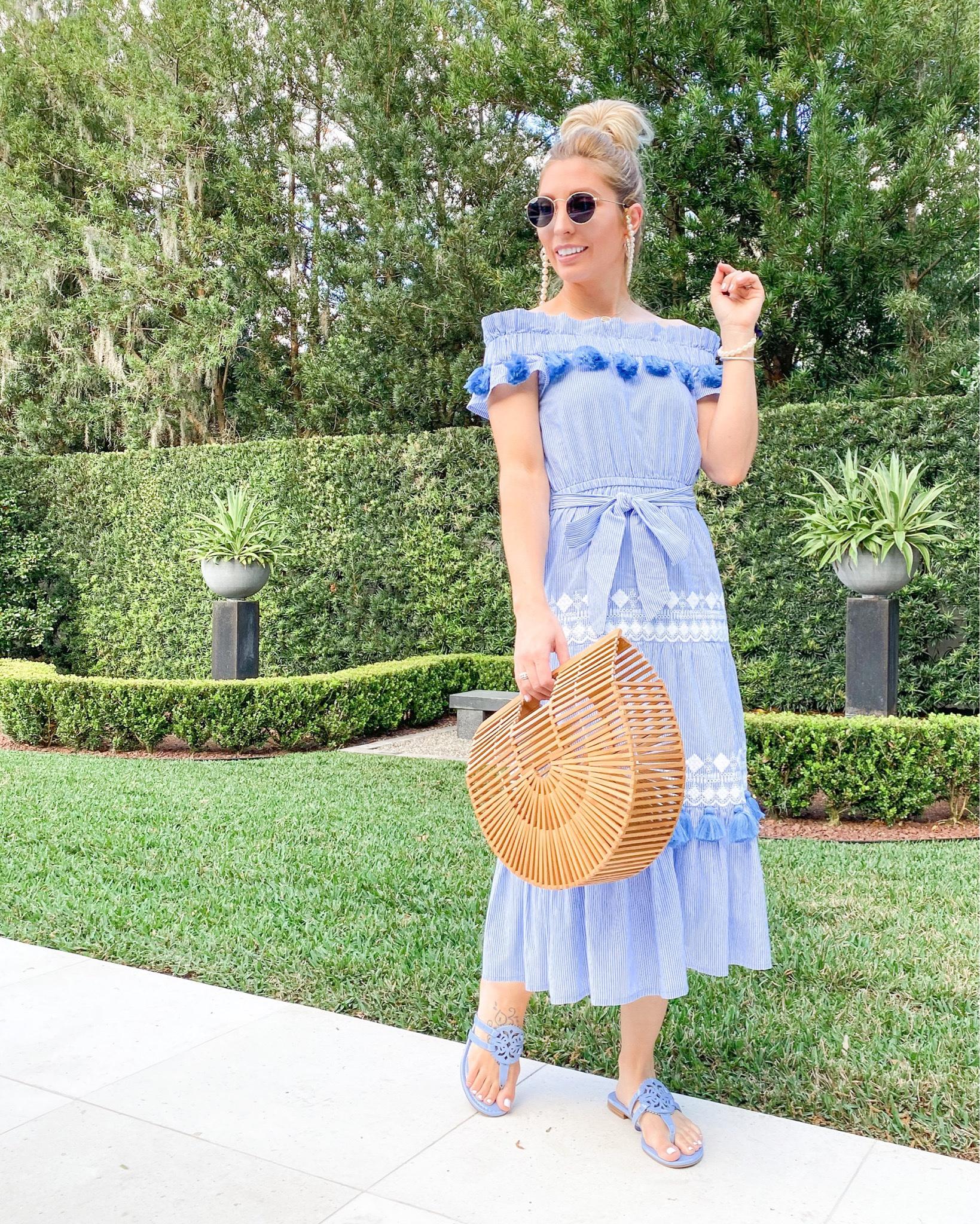 BLUE STRIPED TASSEL TULAROSA DRESS