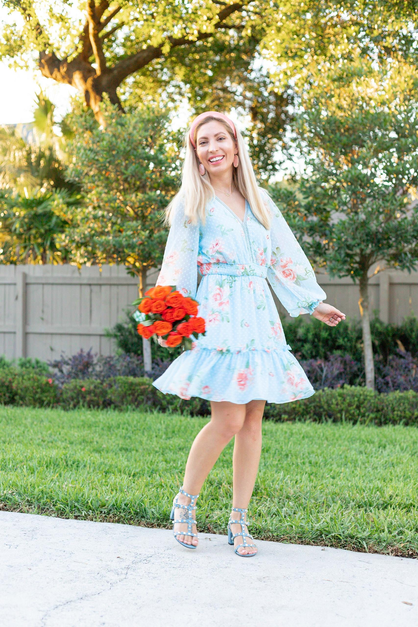BLUE FLORAL SPRING DRESS