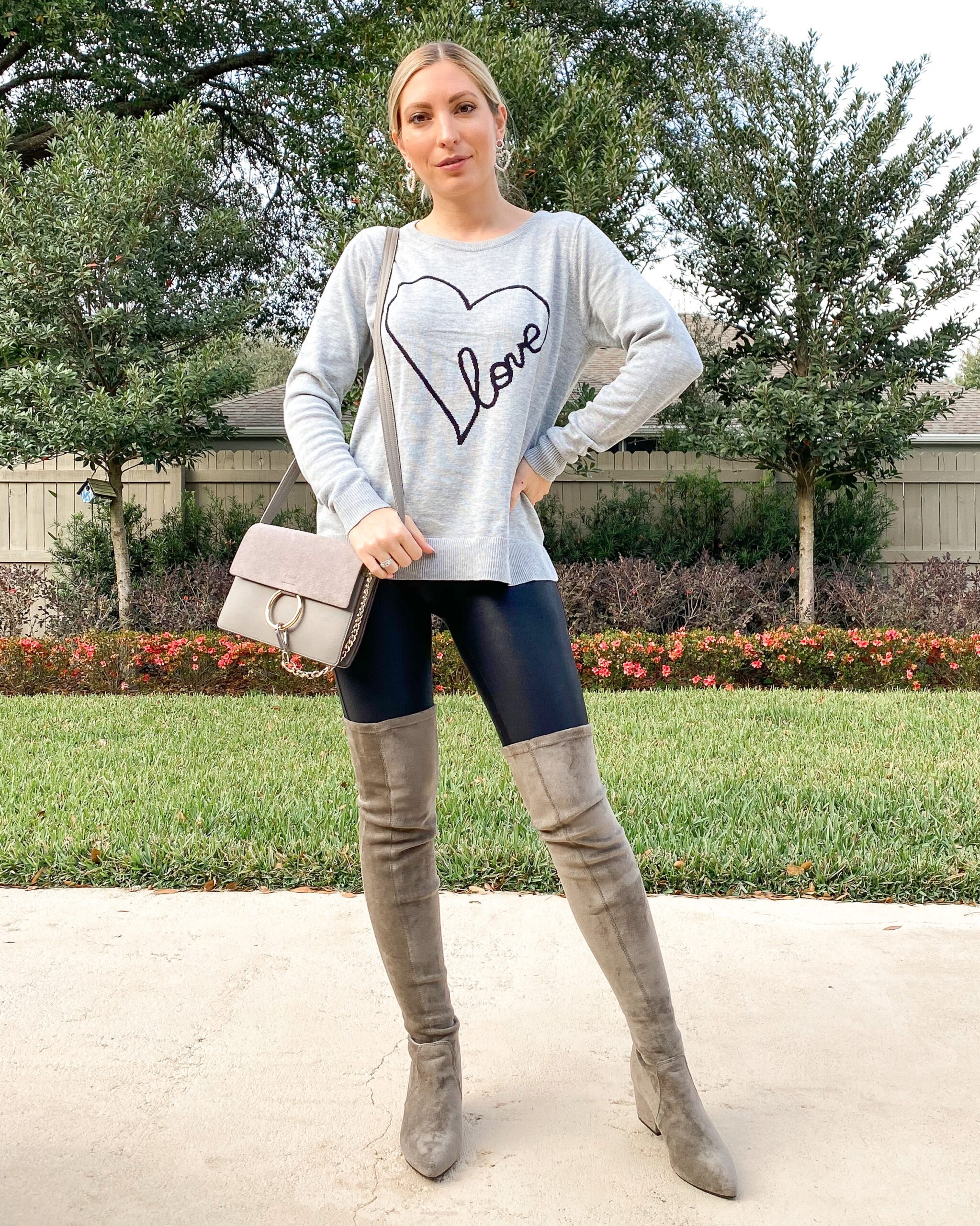 LOVE SWEATER SPANX LEATHER LEGGINGS