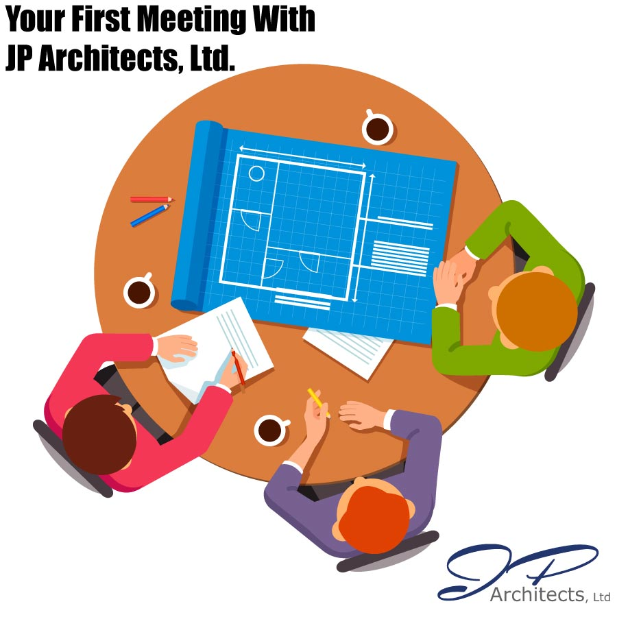 This image shows people meeting to portray the first meeting with JP Architects, Ltd.