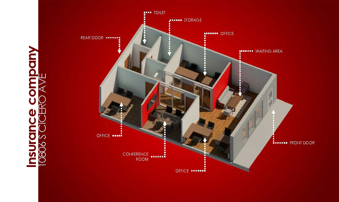 This is a 3D rendering of our office build-out for a client