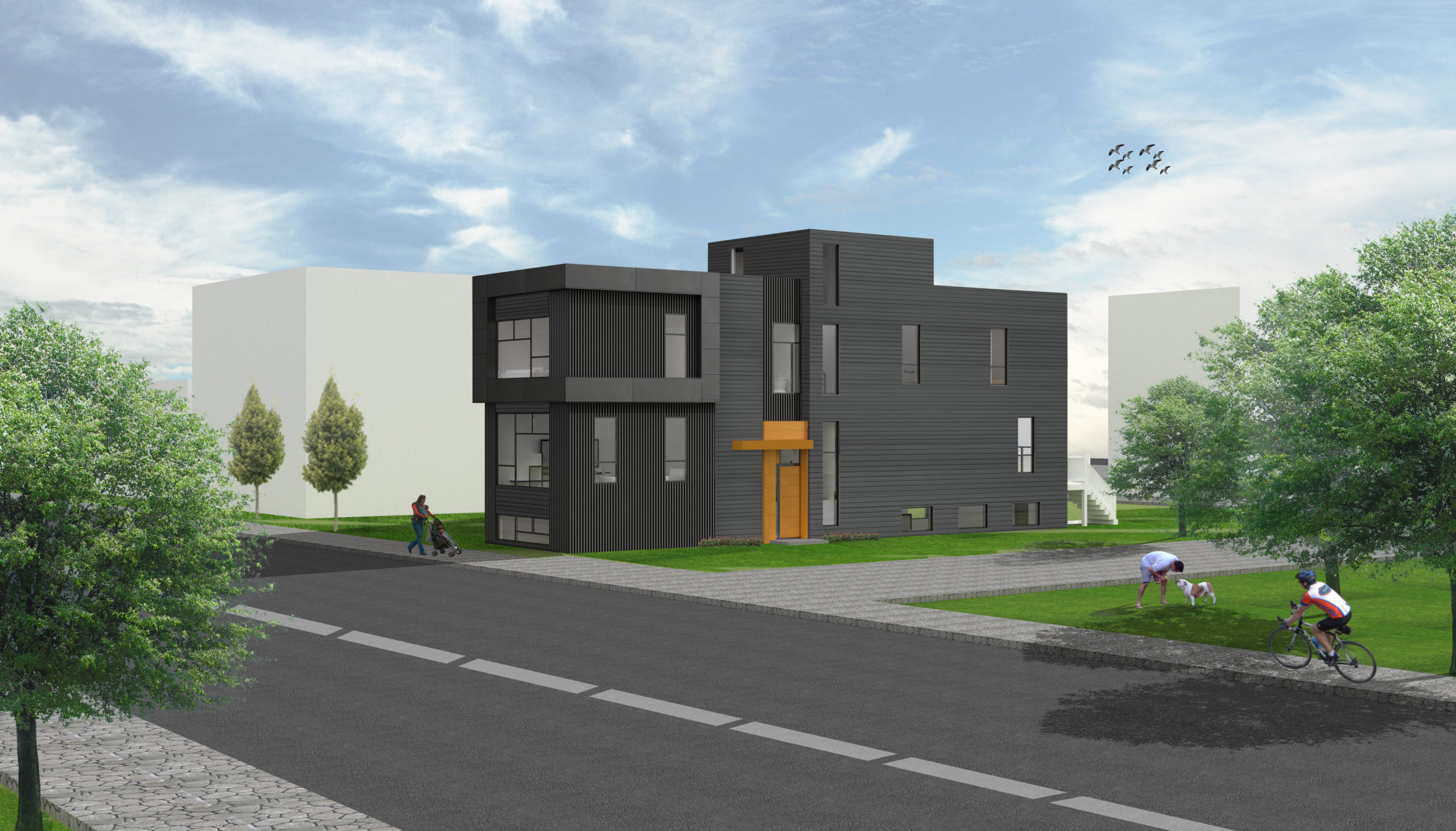 Modern West Chicago Home New Construction 3D Rendering