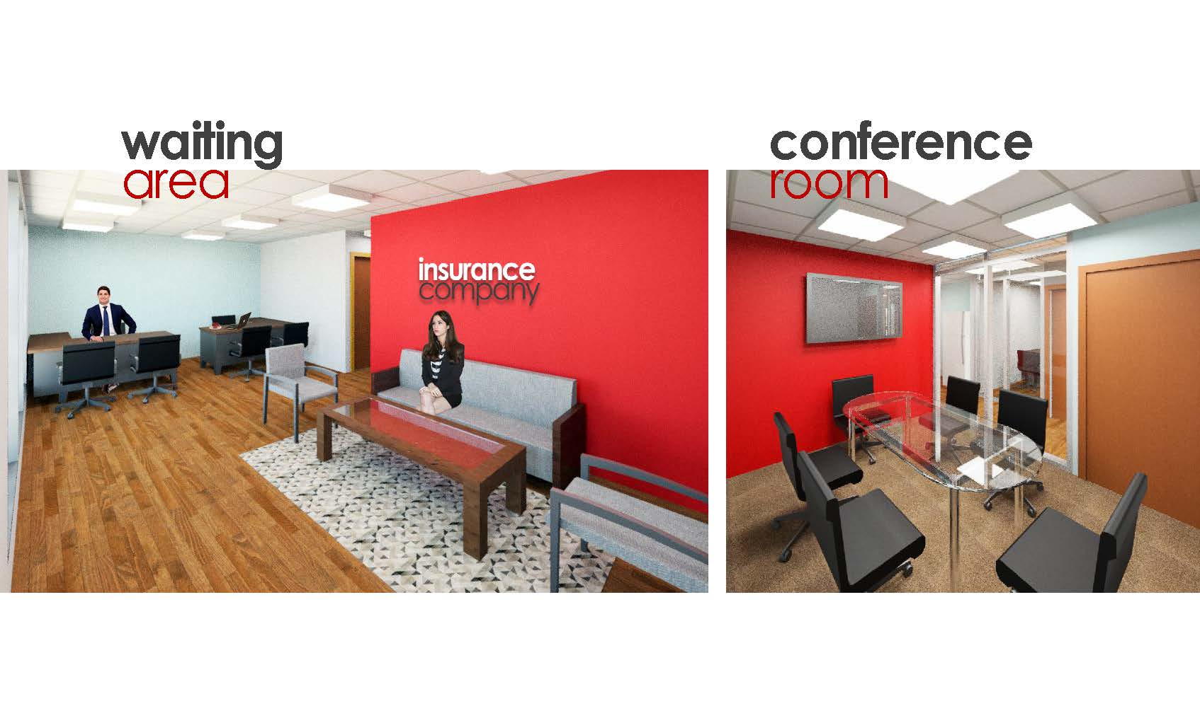 Rendering of inside of an office build-out we completed