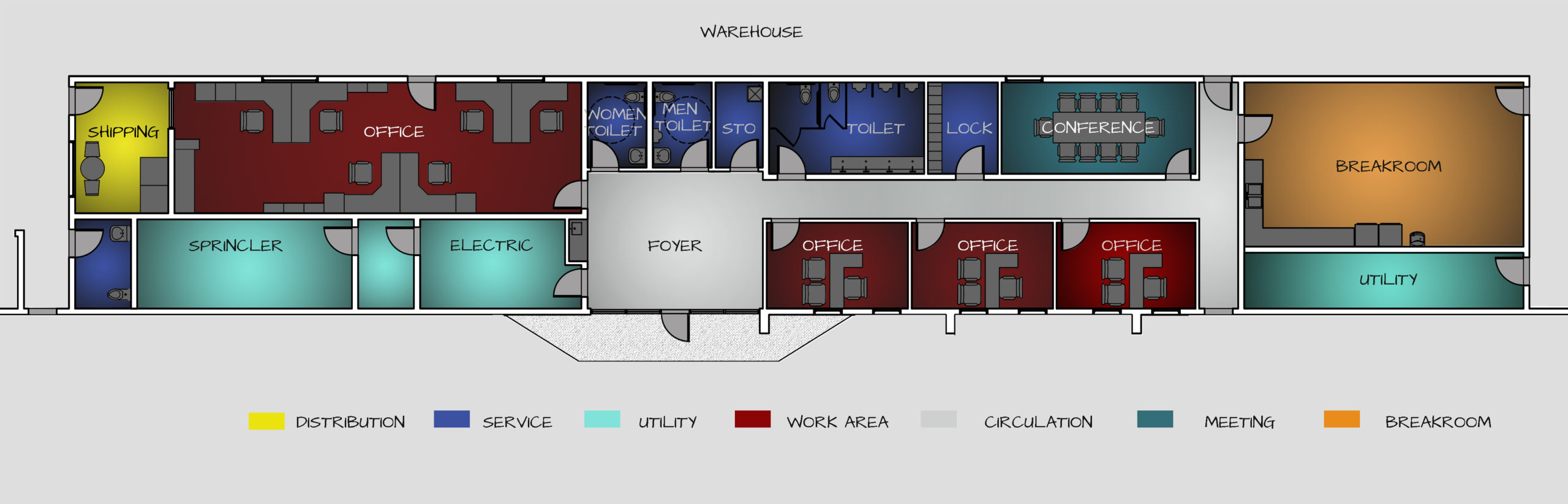 Renovated Floor Plan for Industrial Office Space