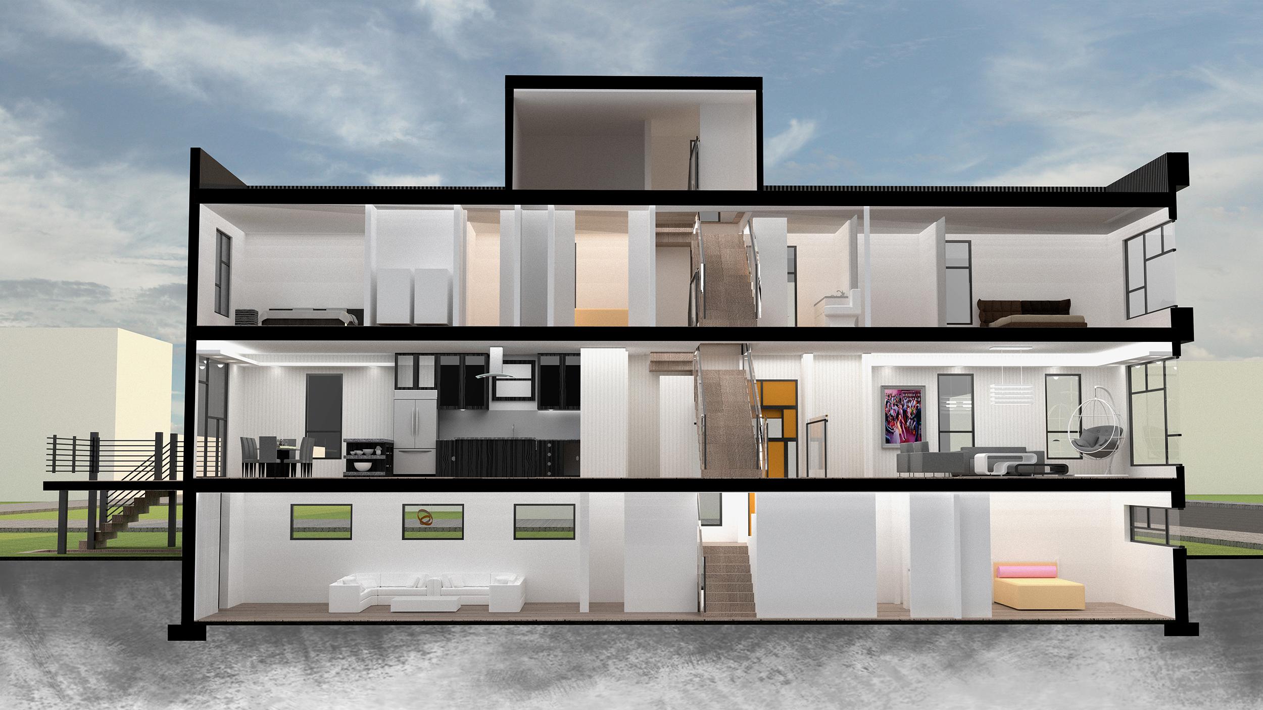 West Side Chicago Modern Home Interior 3D Rendering