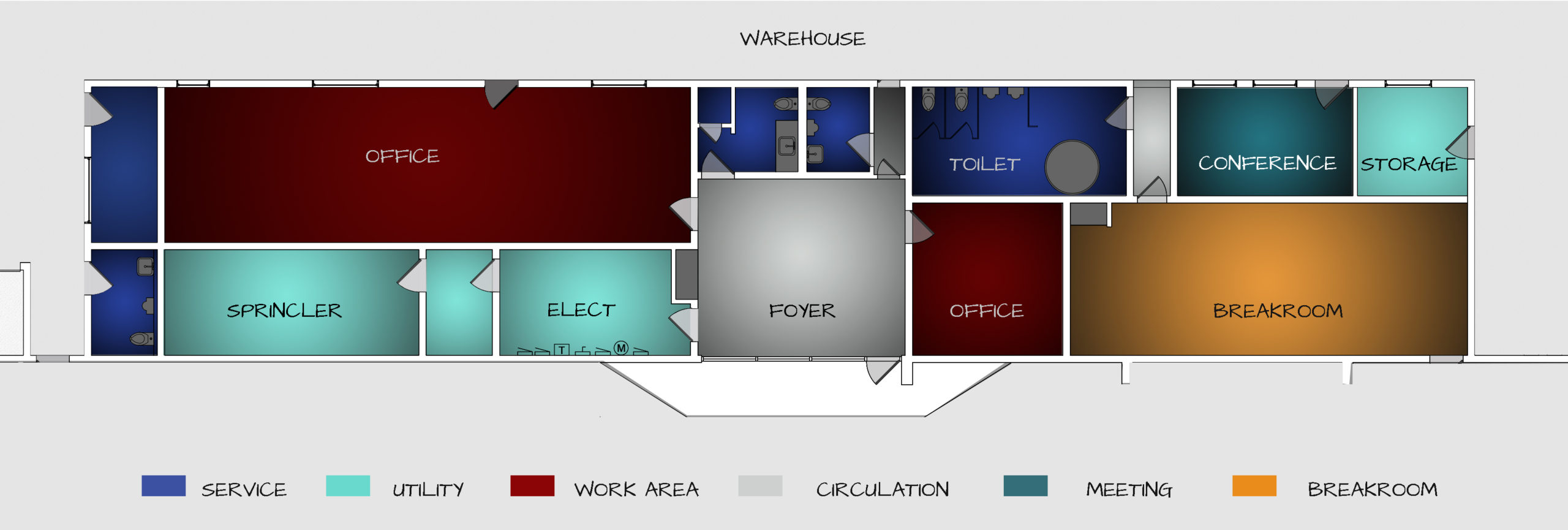 Existing Floor Plan for Industrial Office Renovation