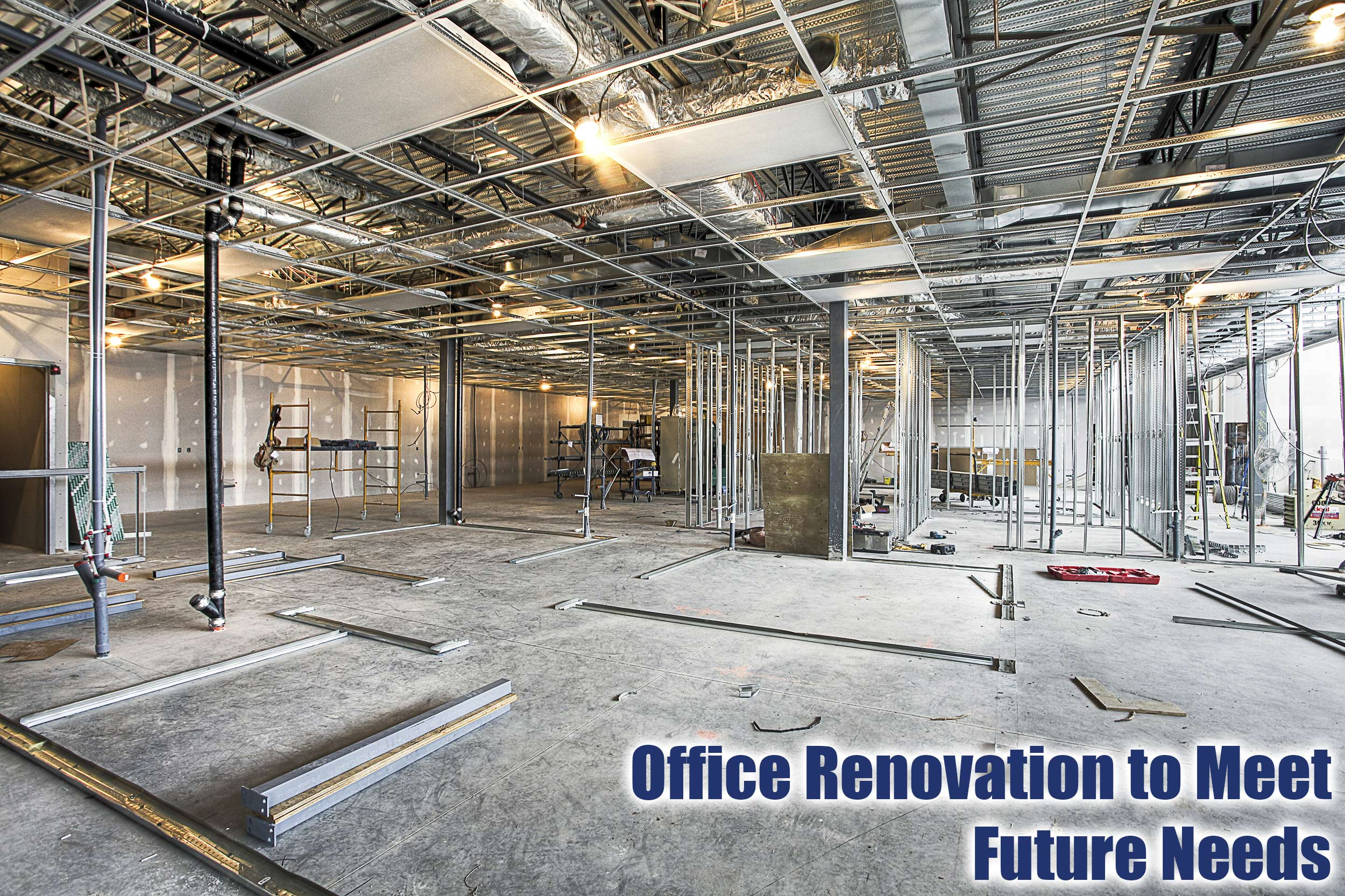 Office Ripped Down To Studs Showing Mechanical, Plumbing & Electrical