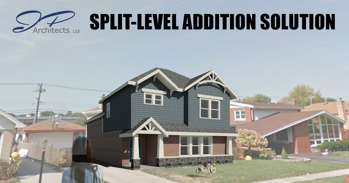 This is the cover image of the rendering for the the split-level addition