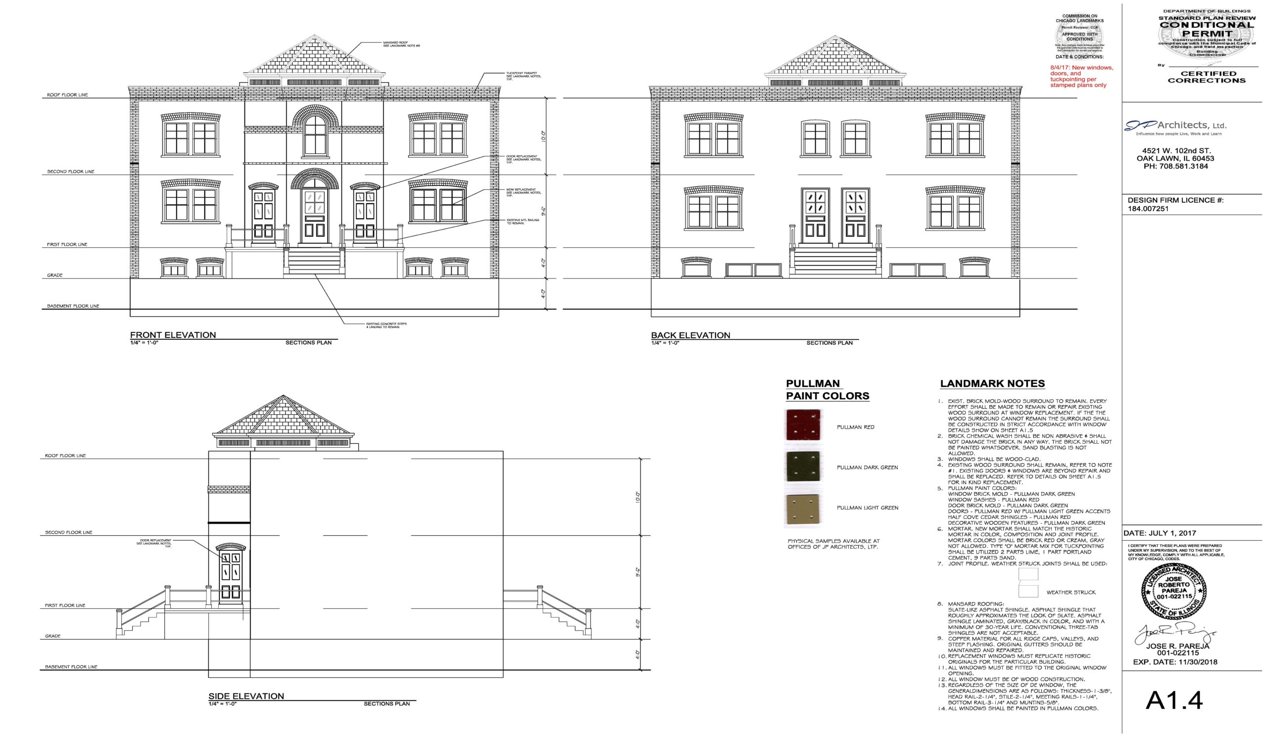 This image shows the architectural documents that describe in detail the landmark construction specifications for our Pullman Row Home project
