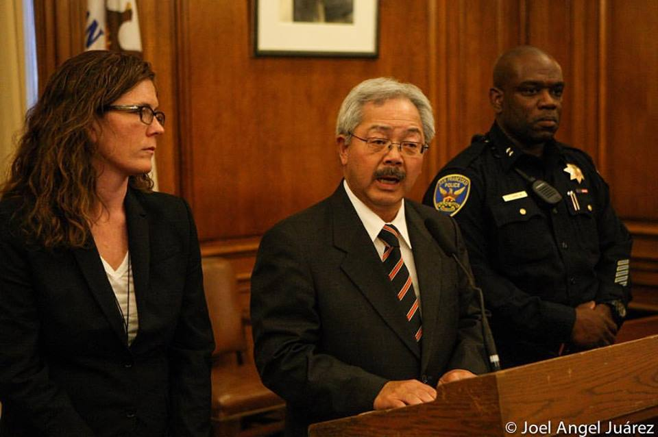 Suzy Loftus, Mayor Ed Lee and SFPD Deputy Chief Toney Chaplin announce resignation of Greg Suhr
