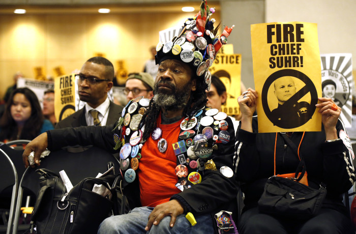 Mario Woods Protesters attend SF Police Commission meeting chaired by DA candidate Suzy Loftus