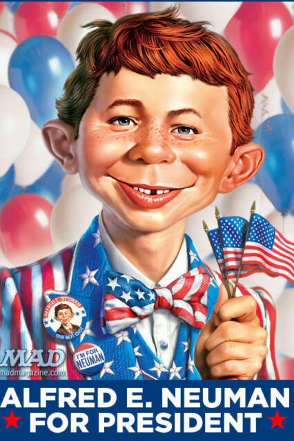 Alfred E. Neumann for President, Mad Magazine (December 1956) bears uncanny resemblance to South Bend Indiana Mayor Pete.