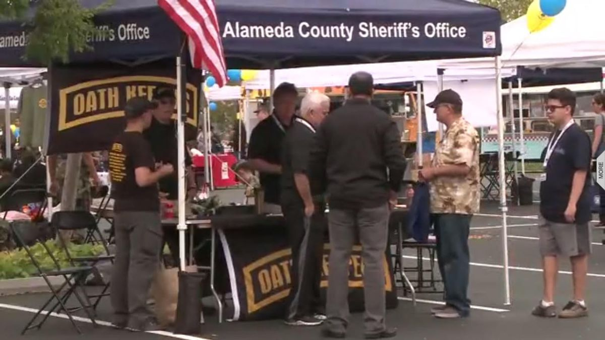 Oath Keepers Booth at Urban Shield Event in Castro Valley, 2017