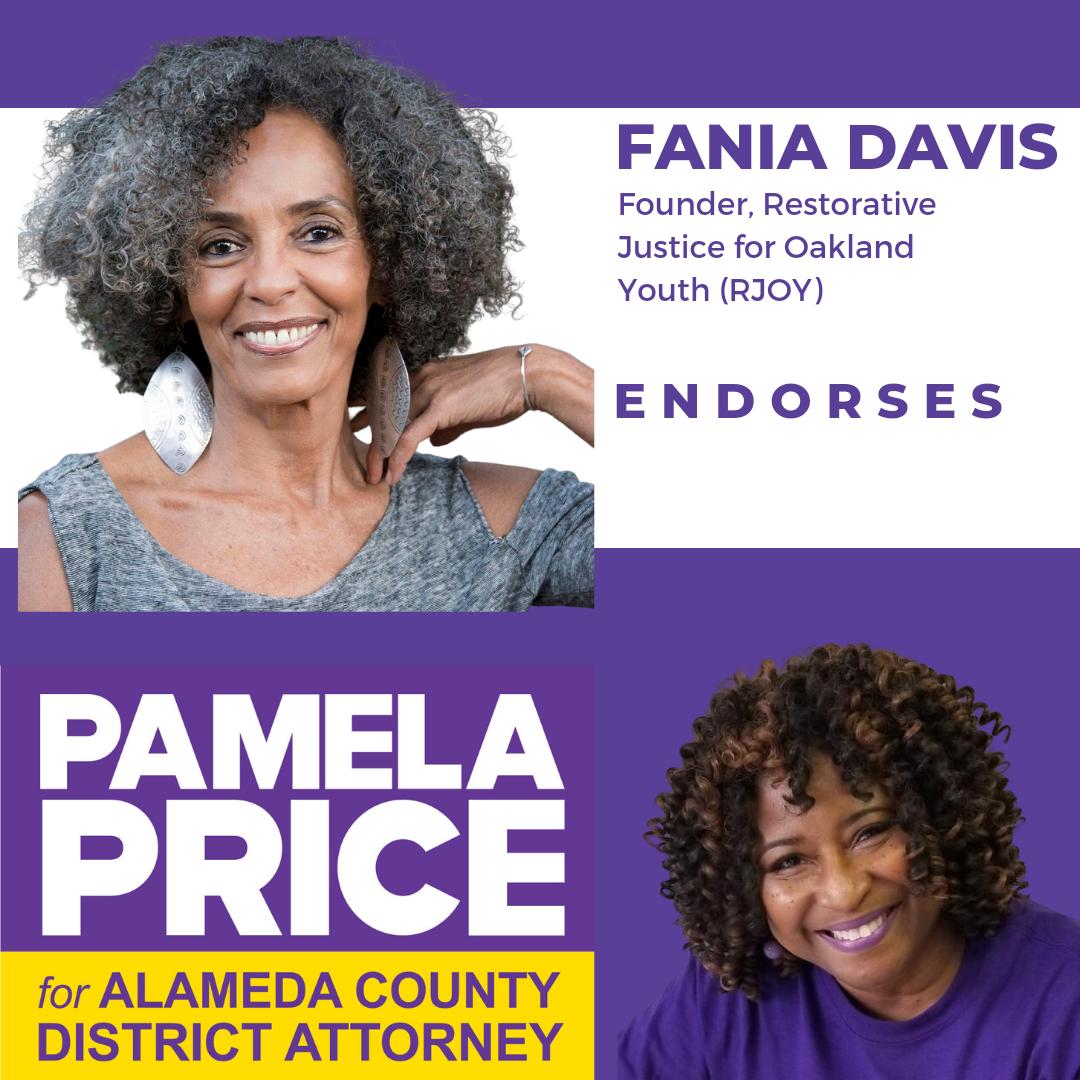 Fania Davis, Founder and Executive Director Emeritus, Restorative Justice for Oakland Youth (RJOY) endorses Pamela Price