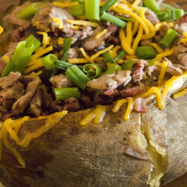 baked potato with brisket, chopped baker