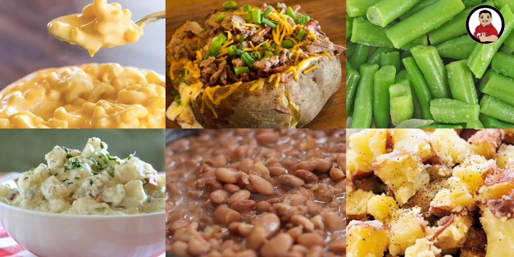 side dishes for bbq, bbq side dishes, Mac and cheese, chopped baker, green beans, potato salad, pinto beans, buttered potatoes