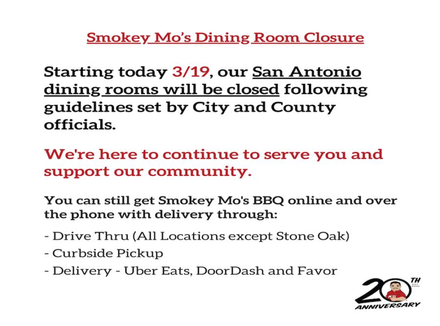 COVID-19, San Antonio Restaurants Response, Smokey Mo's Curbside Pickup