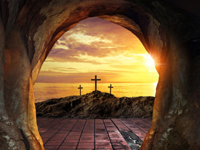 Easter-bible-verses-three crosses viewed from an empty tomb.