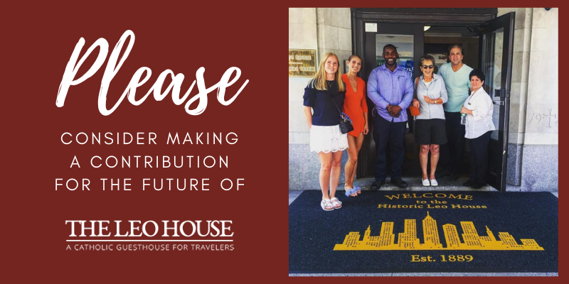 Please consider making a contribution for the future of The Leo House. (image of the front door of The Leo House welcoming guests).