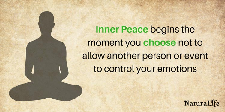 Inspirational quote. Inner peace begins the moment you choose not to allow another person or event to control your emotions.
