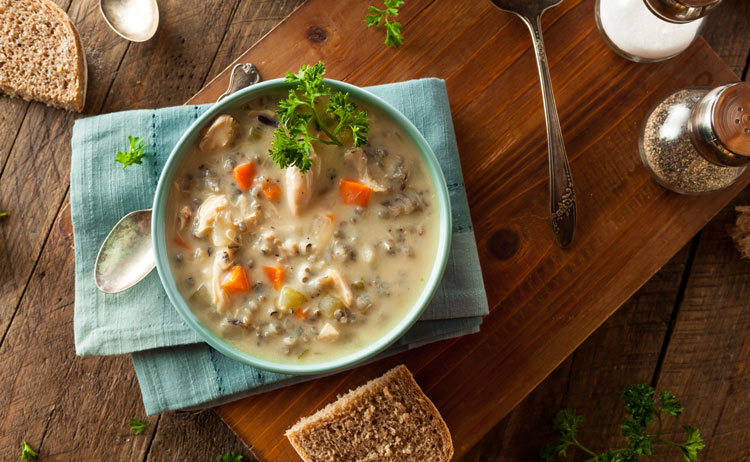 chicken and rice soup with healthy bone broth