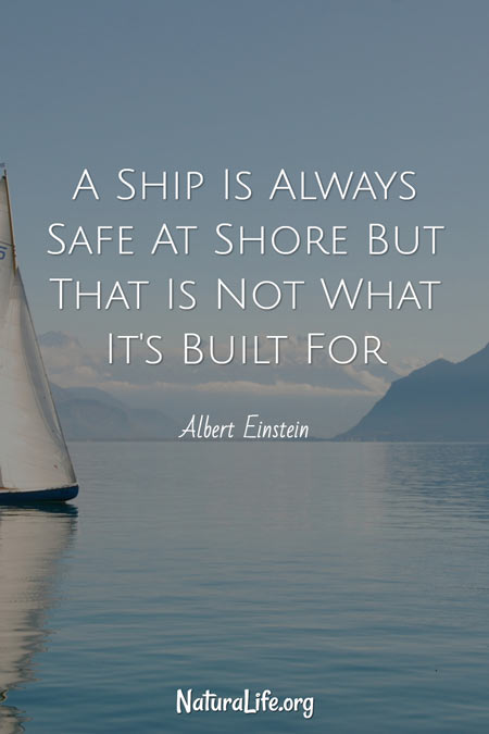 A ship is always safe at shore but that is not what it's built for. A motivational quote by Albert Einstein.