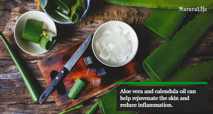 the combination of aloe vera and calendula oil can heal chafing