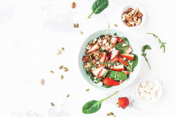 fresh berries on salad