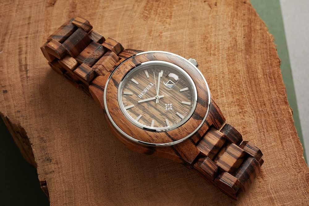 Bewell zebrawood wood watch