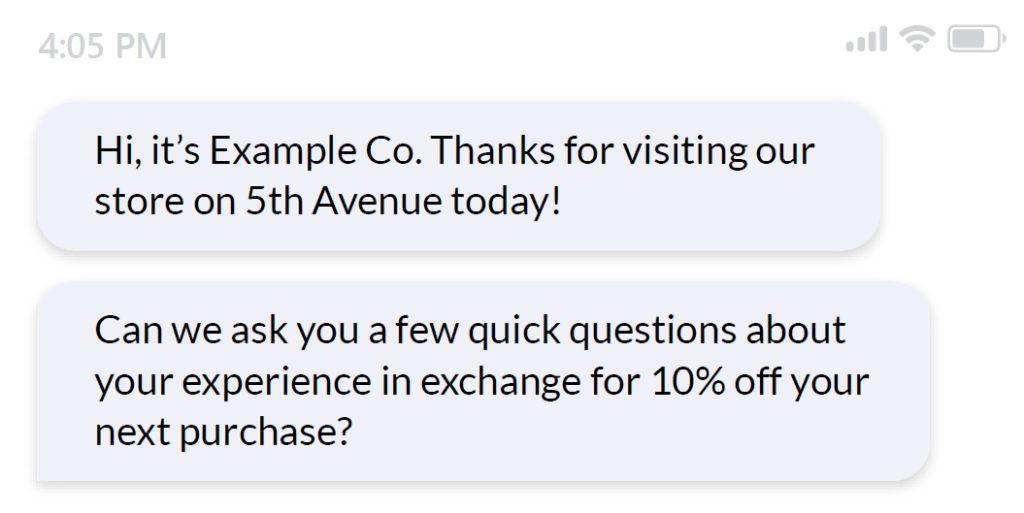 intro message survey question
