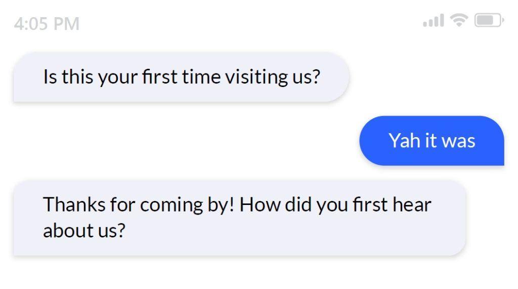 new vs returning customer survey question