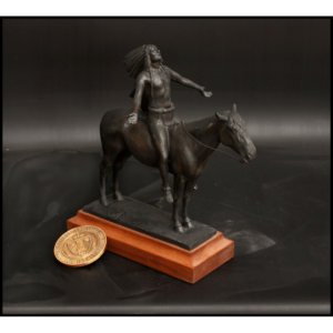 photo of bronze-colored Appeal to the Great Spirit reduction sculpture featuring a Native American astride a horse atop a wood base with a gold coin beside it for scale