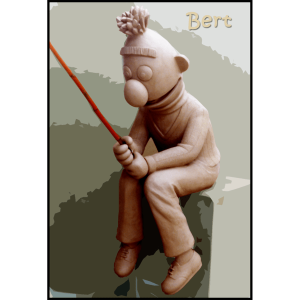 photo of clay model of sculpture of Bert holding fishing pole