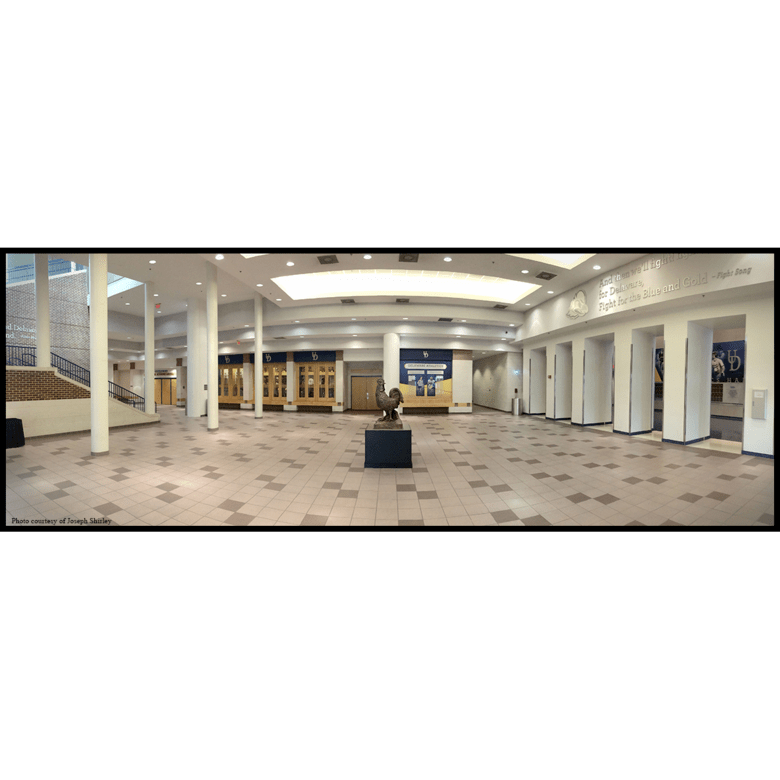 panoramic photo of bronze sculpture of hen on black and gold base in large room