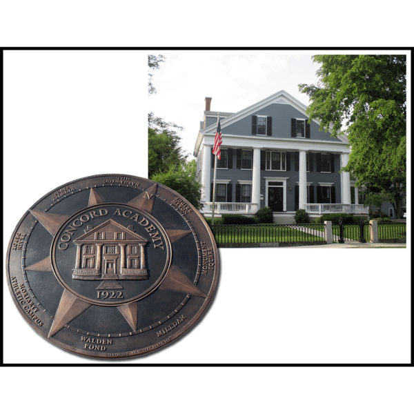 collage of two photos, one of bronze floor medallion with relief sculpture of building and compass elements, and one of gray building with white trim