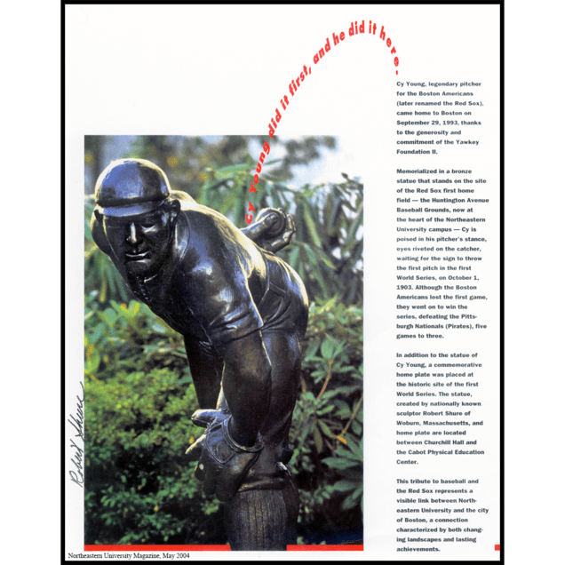 magazine page with photo of bronze sculpture of Cy Young