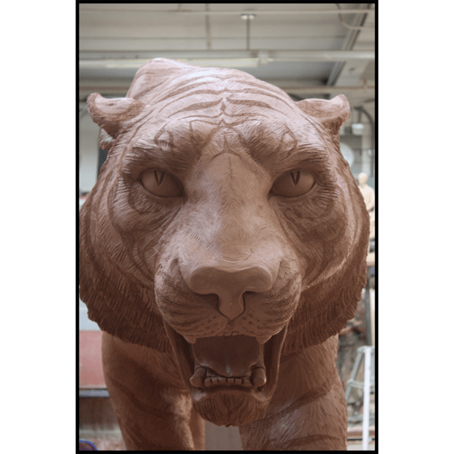 photo of clay model of sculpture of tiger