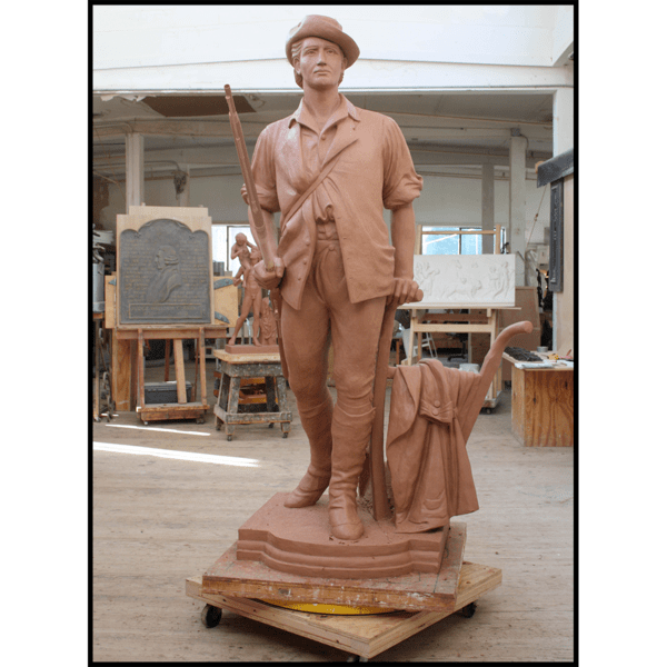 photo of clay model of sculpture of Minuteman