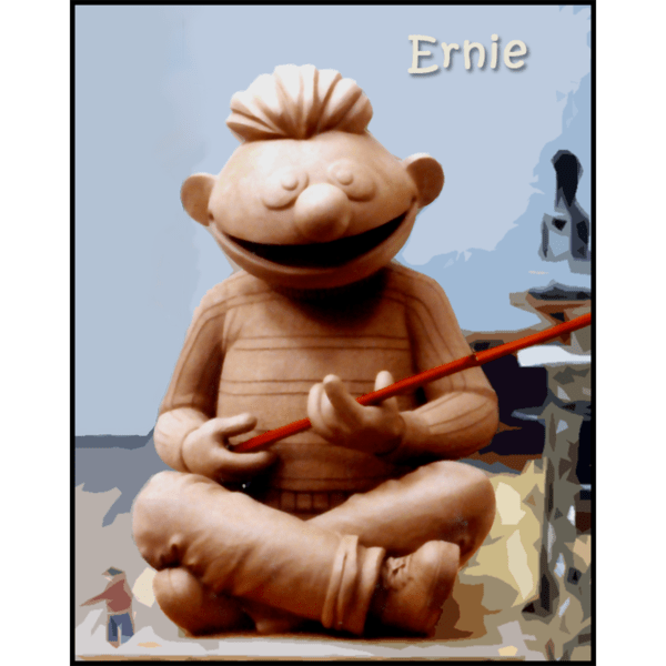 photo of clay model of sculpture of Ernie holding fishing pole